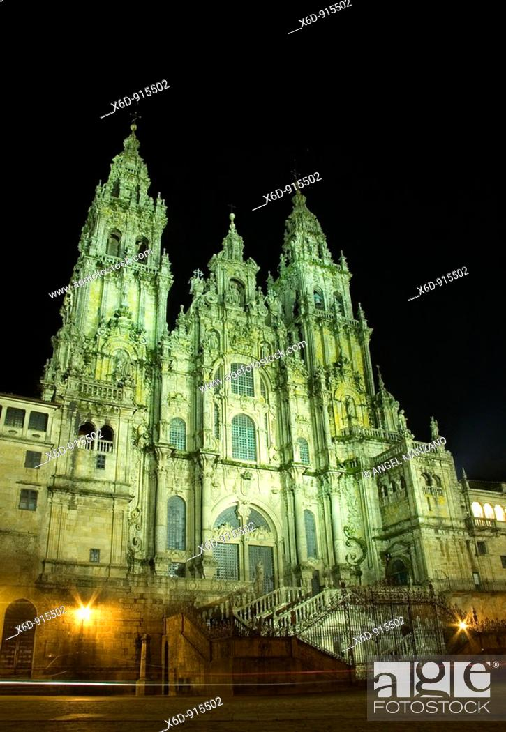 Stock Photo: Santiago de Compostela cathedral, Obradoiro Square, Galicia, Spain.