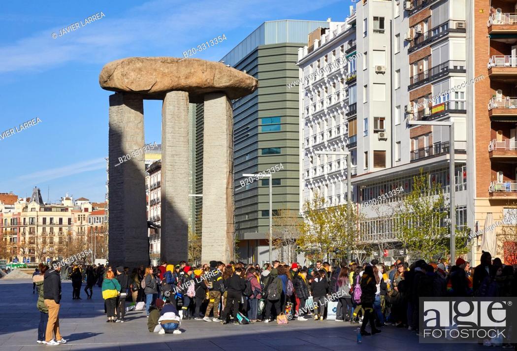 Stock Photo: Dolmen by Dalí, Salvador Dalí Square, Madrid, Spain, Europe.