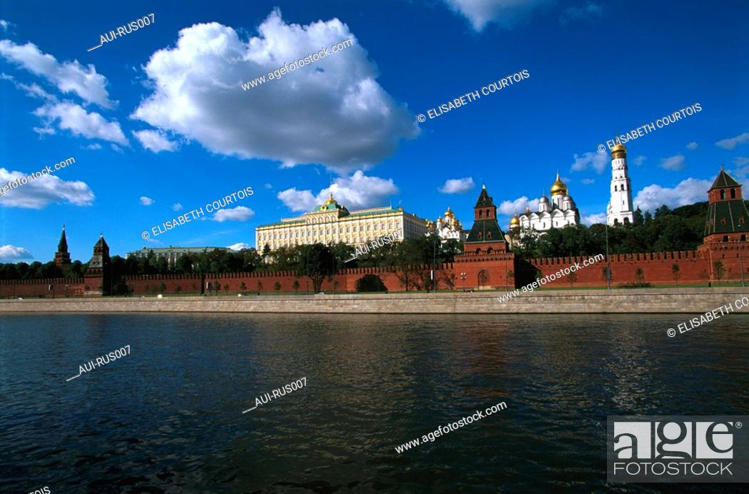 Stock Photo: Russia - Moscow - Kremlin Wall on the Moskova.