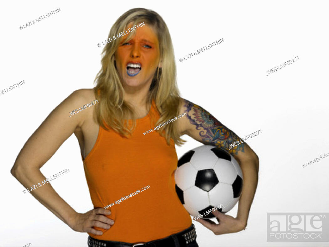 Stock Photo: Female soccerfan from the Netherlands.