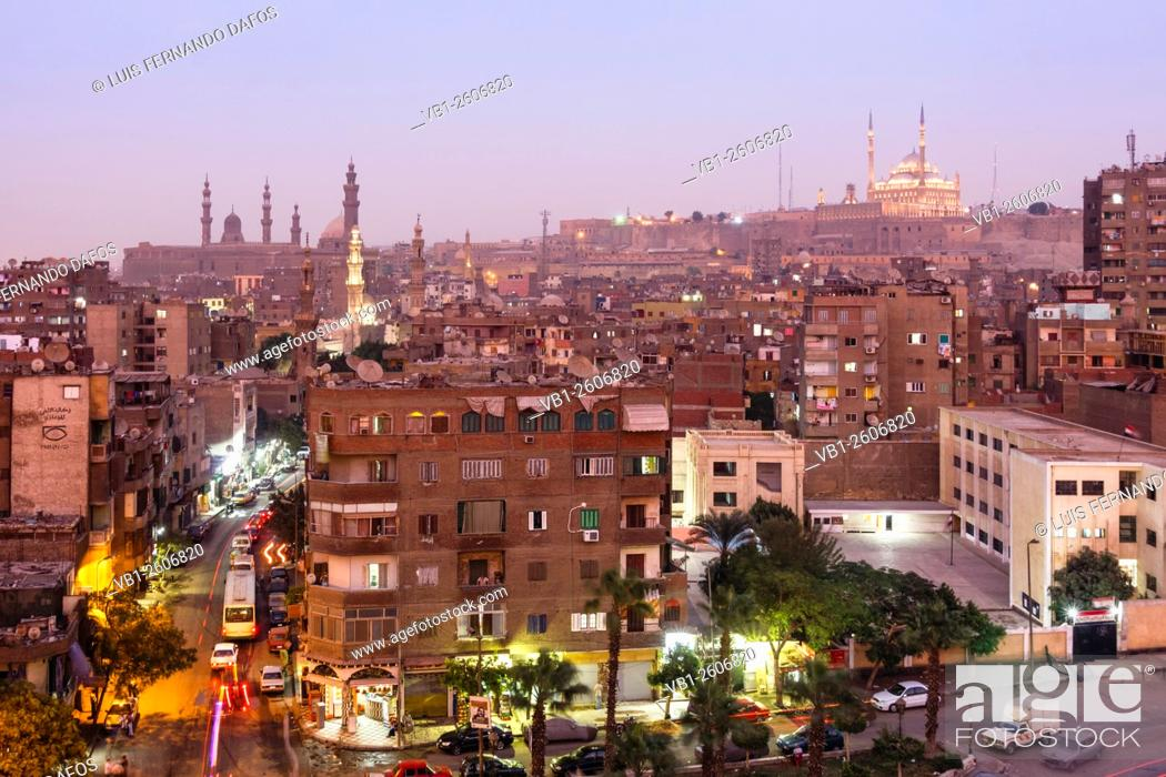 Stock Photo: Islamic Cairo overview at dusk with citadel in background, Cairo, Egypt.