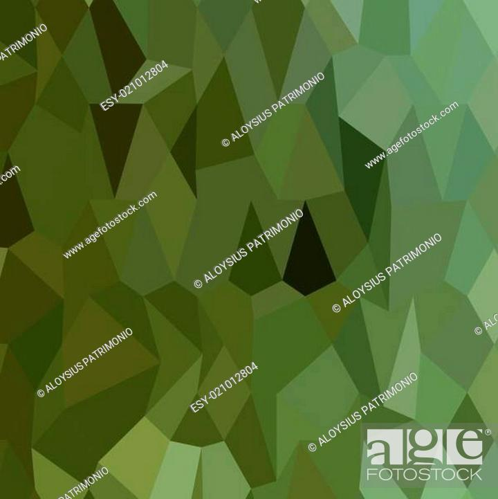 Stock Vector: Tea Green Abstract Low Polygon Background.