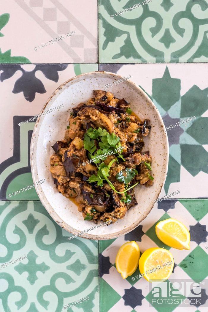 Stock Photo: Moroccan aubergine salad.