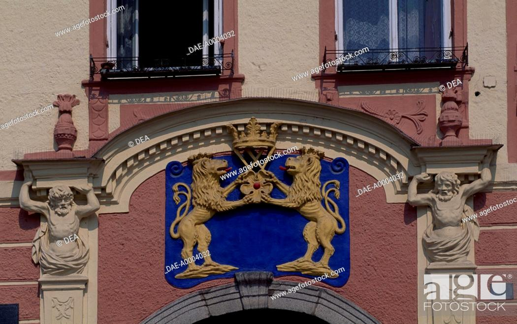 Stock Photo: Facade of Jindrichuv Hradec's Old Town Hall, Bohemia. Detail. Czech Republic.