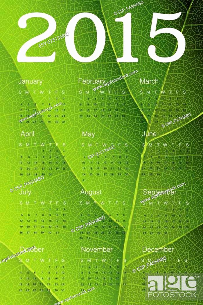 Stock Vector: Calendar 2015 on green leaf texture. Vector.