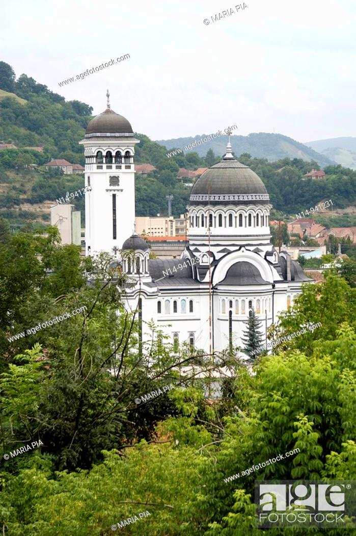 Stock Photo: St. Treime Orthodox church in the medieval citadel town, Sighisoara, Transylvania, Romania, Europe.
