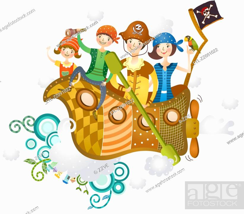Stock Photo: family enjoying ship journey.