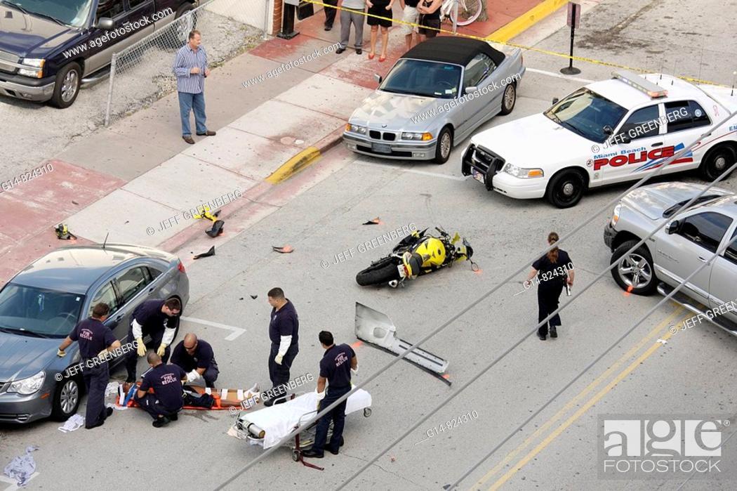 Florida, Miami Beach, \'Ocean Drive\', motorcycle accident, collision ...