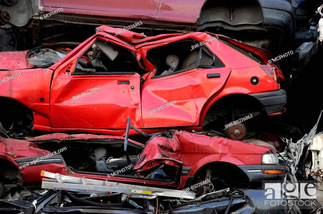 car wrecks on a scrapyard, Stock Photo, Picture And Rights
