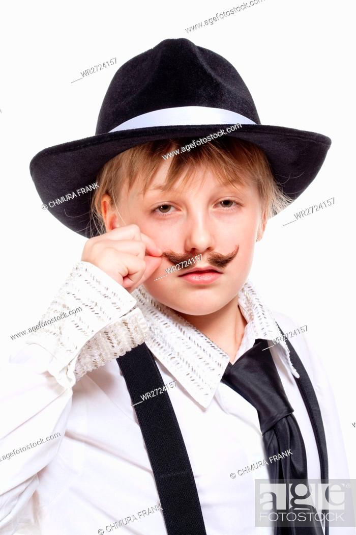 Stock Photo: Portrait of a Little Girl with Hat Posing as a Gangster.