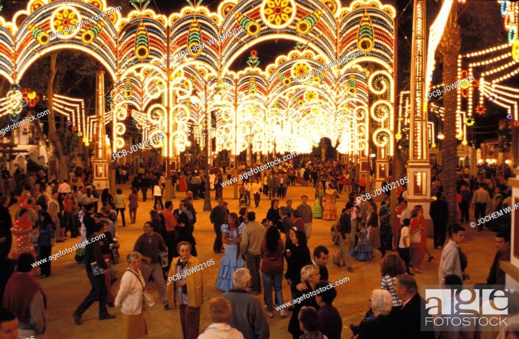 Stock Photo: Jerez de la Frontera, the fairground of the Feria del caballo.