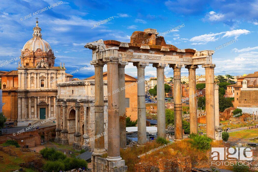 Stock Photo: Temple of Saturn, Septimius Severus Arch, Santi Luca e MartinaChurch, Roman Forum, Rome, Lazio, Italy, Europe.