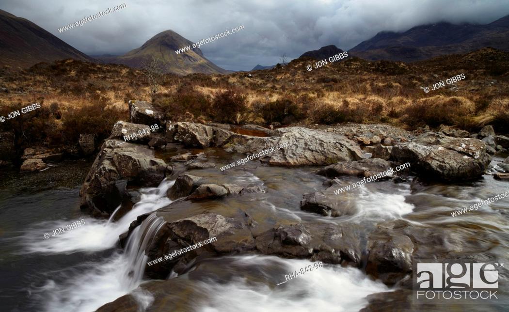 Stock Photo: A moody winter afternoon at Glen Sligachan, Isle of Skye, Scotland, United Kingdom, Europe.
