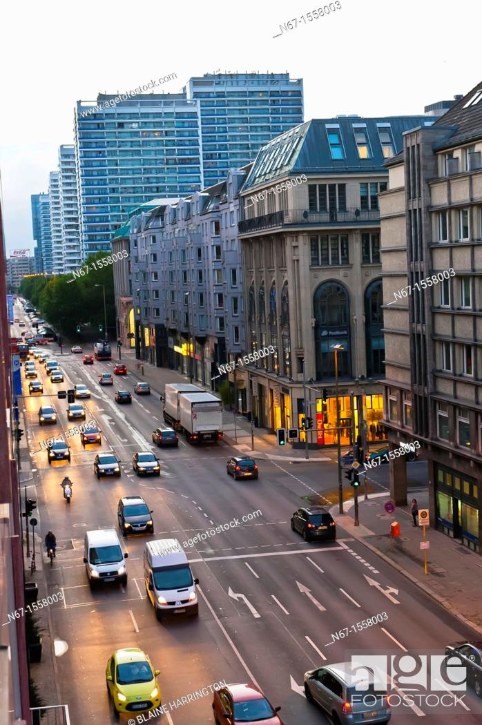 Stock Photo: An overview of Leipziger Strasse, Mitte, Berlin, Germany.