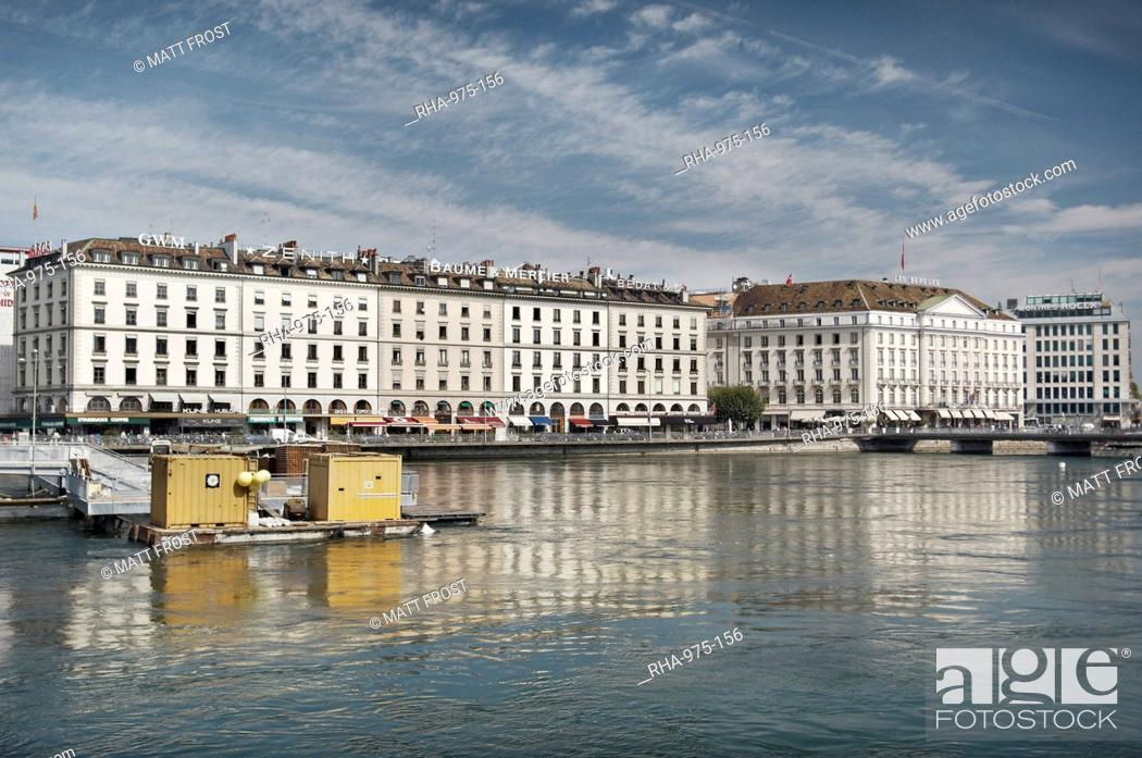 Stock Photo: Bulidings along Quai des Bergues, Geneva, Switzerland, Europe.