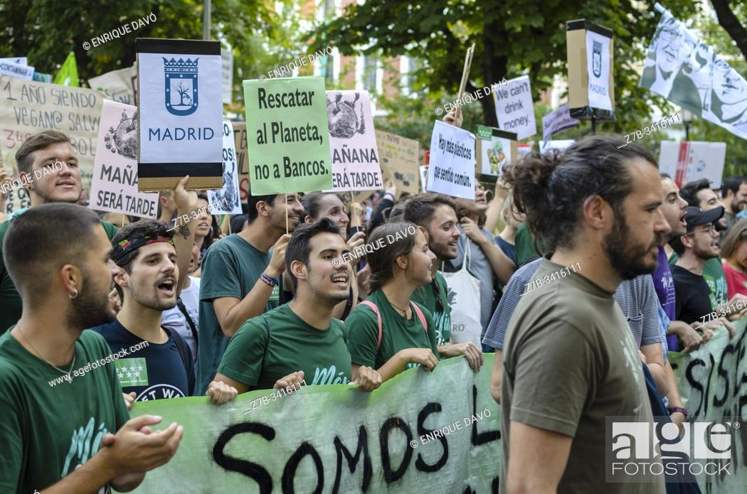 Stock Photo: Madrid, Spain, 27th September 2019. View of a placard and people protesting against climate change in Paseo del Prado, Madrid city, Spain.