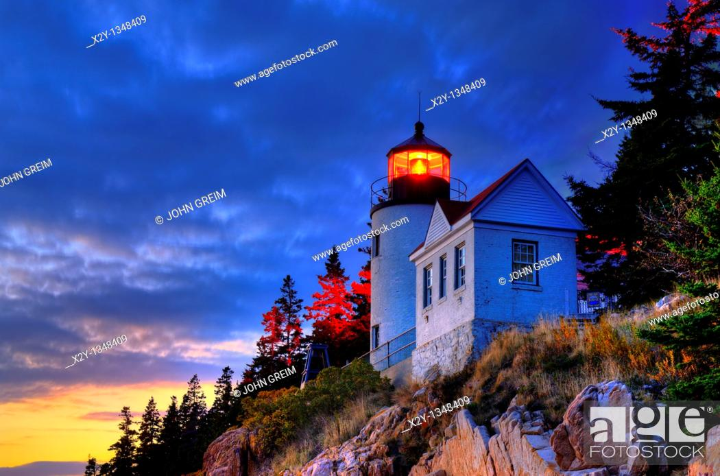 Stock Photo: Bass Harbor Light, Bass Harbor, Acadia National Park, Maine, ME, USA.