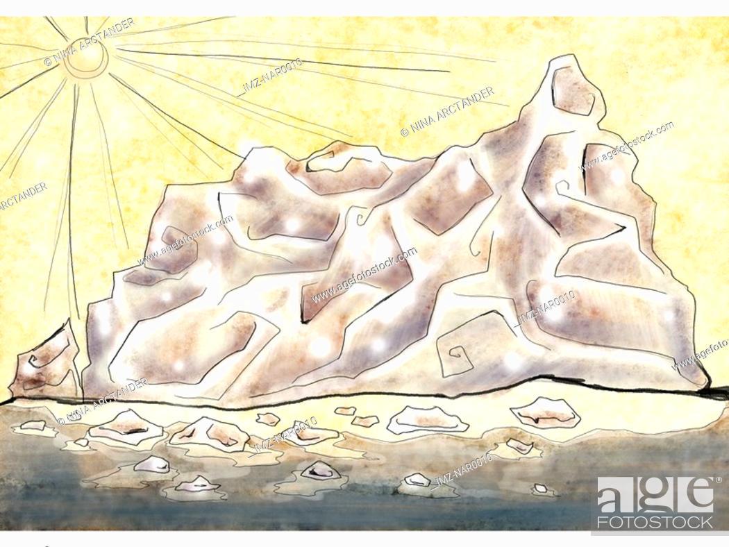 Stock Photo: A melting iceberg.