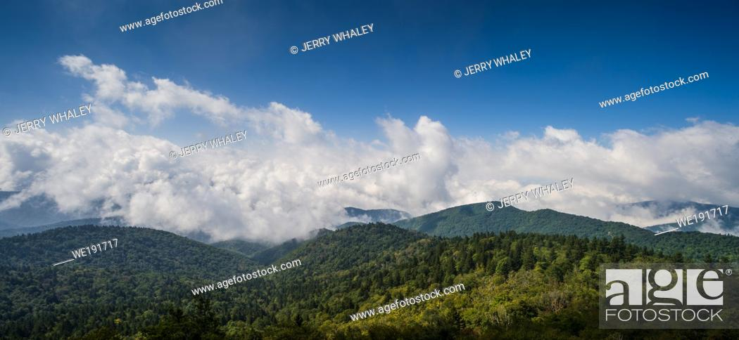 Stock Photo: Scenic Views from the Blue Ridge Parkway in North Carolina.