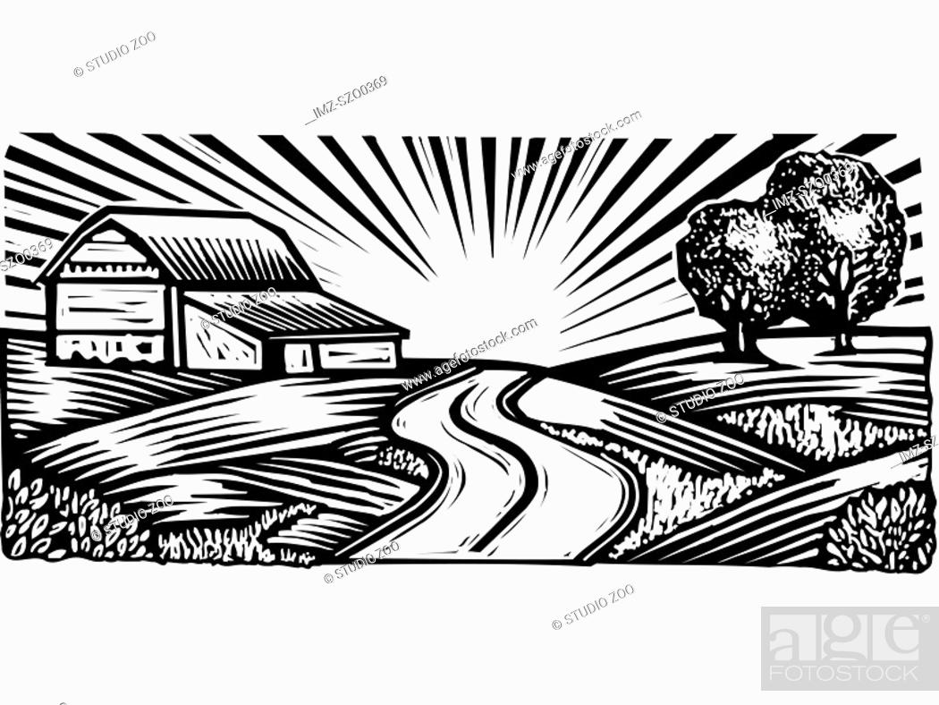Stock Photo: Rural scene with winding road and barn, black and white.