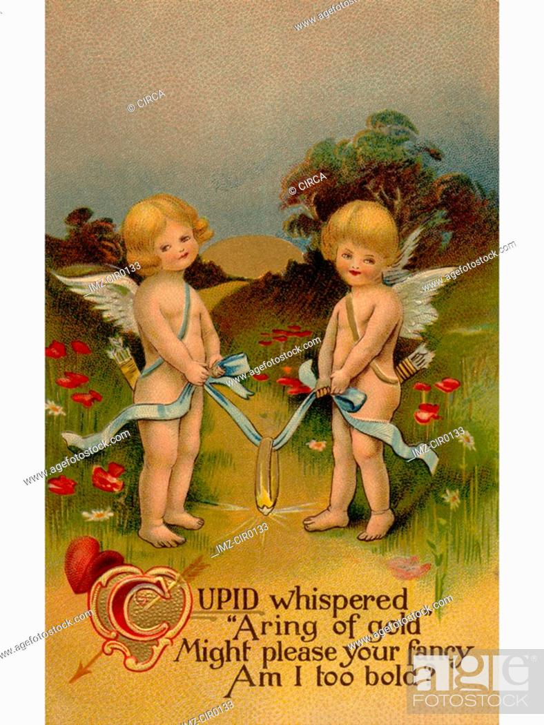 Stock Photo: A vintage Valentine with two cherubs holding a golden ring on a ribbon.