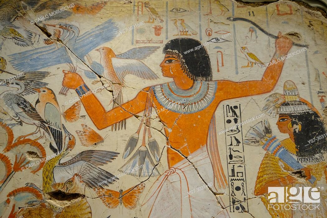Stock Photo: The famous false fresco Pond in a Garden from the Tomb of Nebamun, British Museum, London, United Kingdom.