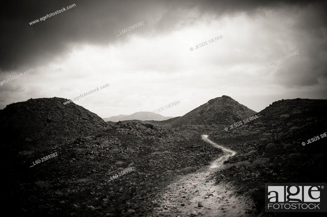 Stock Photo: Road in Lobos island. Fuerteventura. Spain.