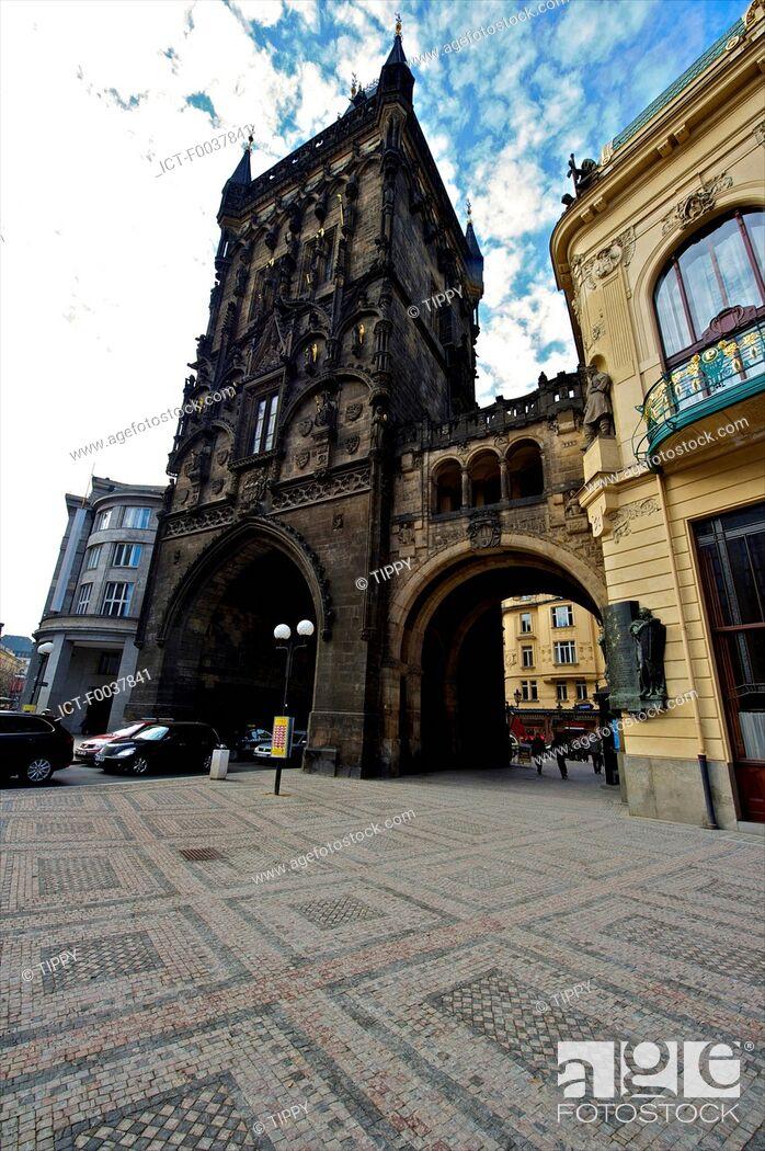 Stock Photo: Czech Republic, Prague, powder tower.
