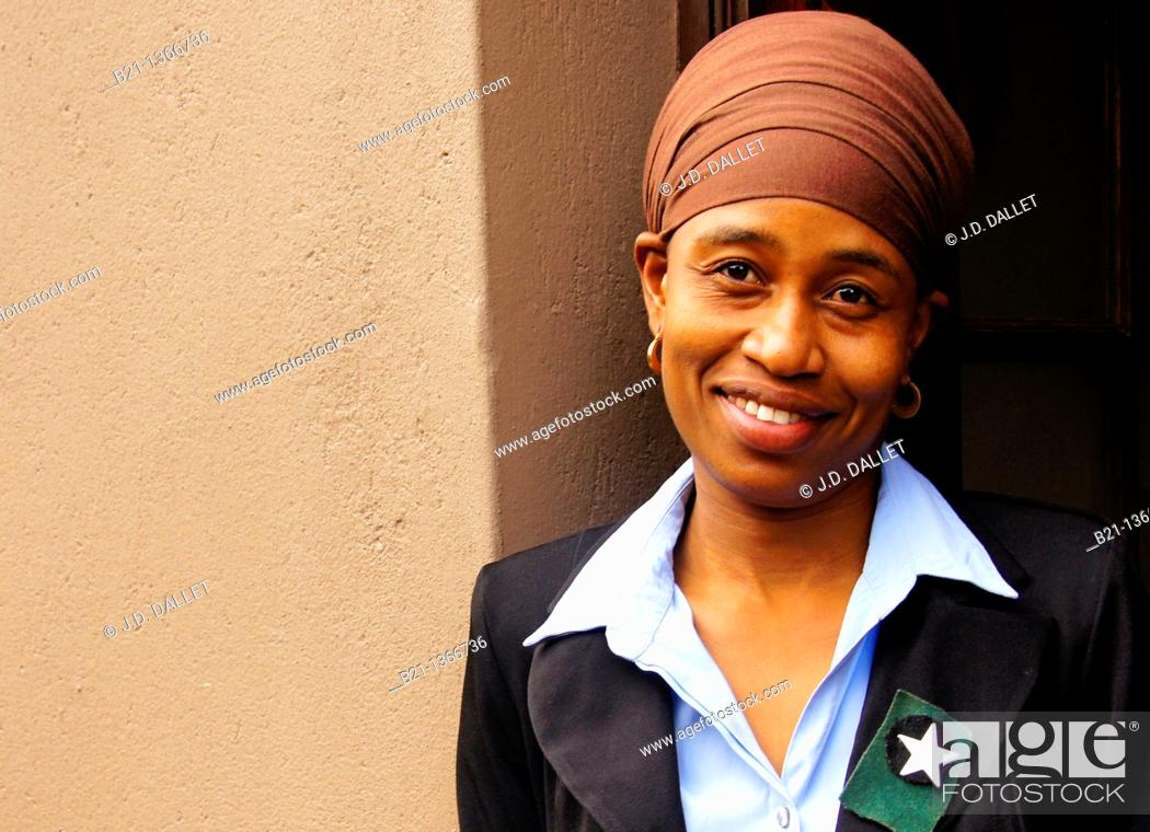 Stock Photo: Young woman member of the Christian Zion's at Gaborone, Botswana.
