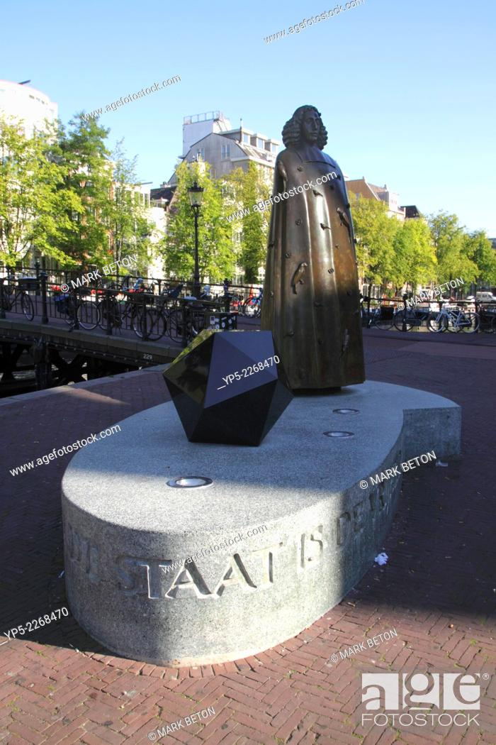 Stock Photo: Spinoza Statue Amsterdam Holland.