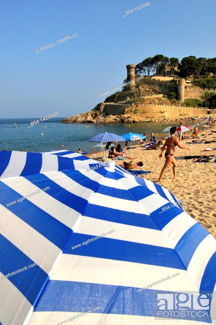 Stock Photo: Tossa de Mar (view of the Vila Vella enceinte from the beach), Costa Brava, Girona, Catalonia, Spain.