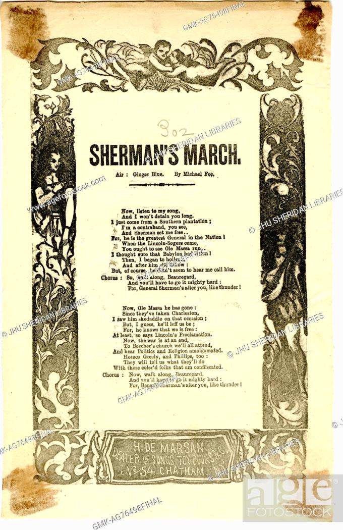 """Imagen: Broadside from the American Civil War entitled """"""""Sherman's March, """""""" threatening Confederate troops by glorifying Union generals."""