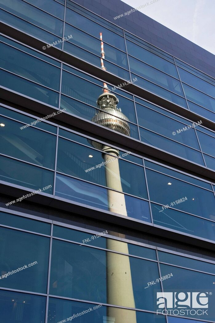 Stock Photo: TV tower reflecting in glass front, Berlin, Germany.