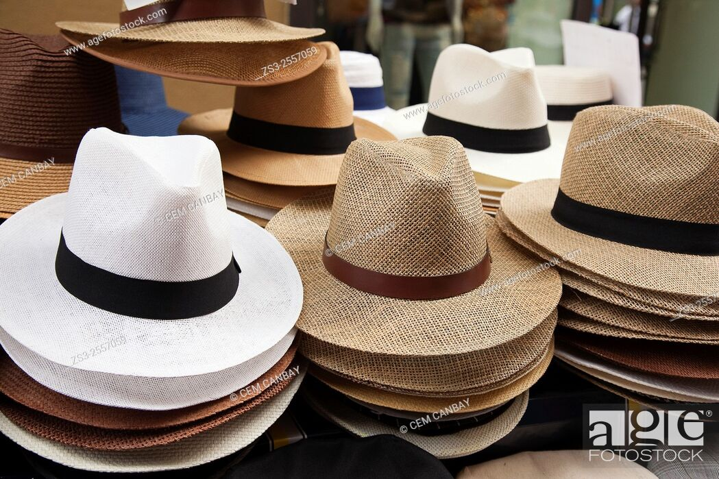 Stock Photo: Panama hats for sale at the entrance of a shop, Palermo, Sicily, Italy, Europe.