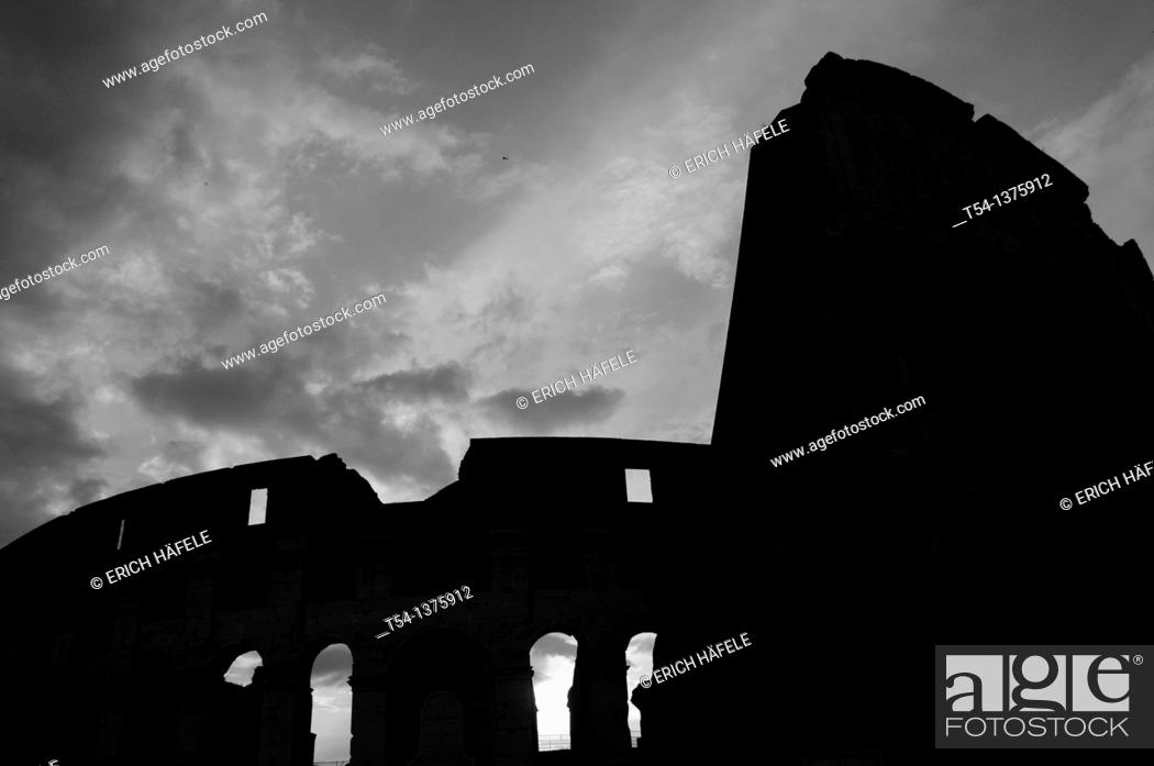Stock Photo: Silhouette of the Colosseum in Rome.