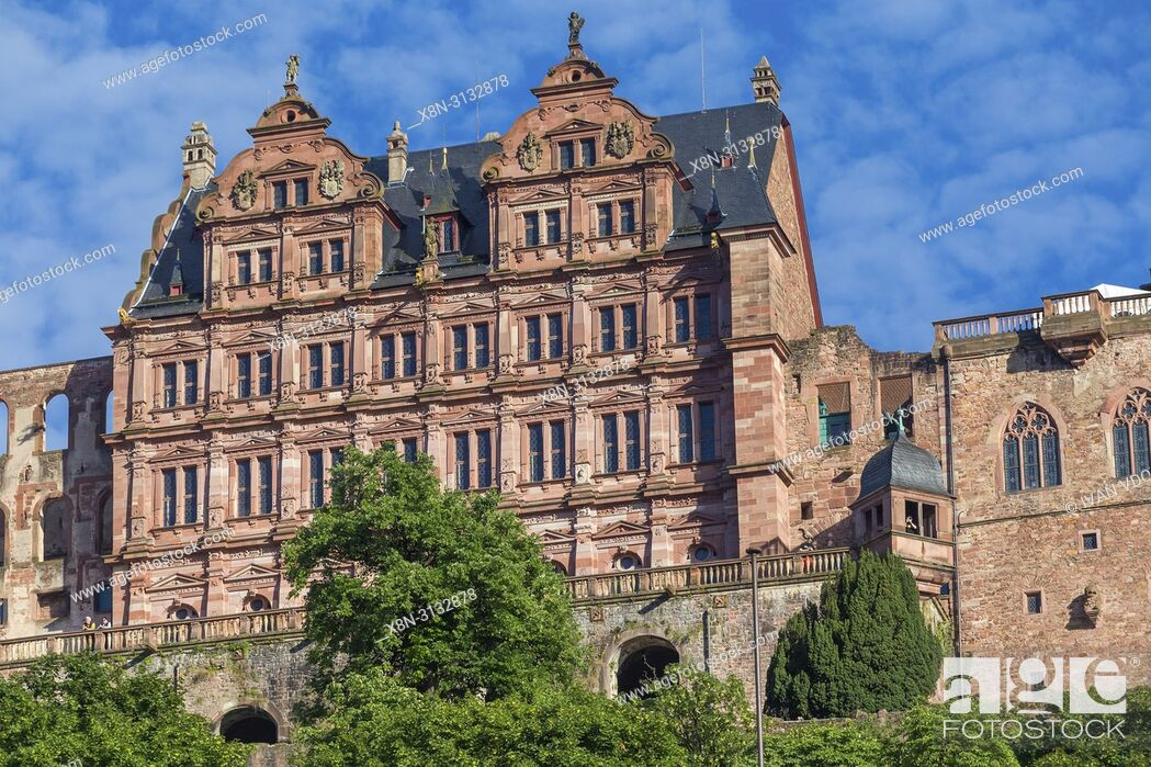 Stock Photo: Heidelberg Castle, Heidelberger Schloss, Heidelberg, Baden-Wurttemberg, Germany.