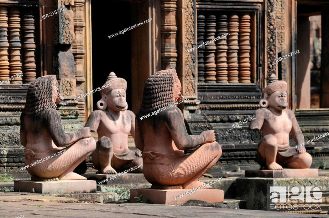 Stock Photo: Stone guardian statues, temple, Banteay Srei, Angkor, Siem Reap, Cambodia, Southeast Asia.