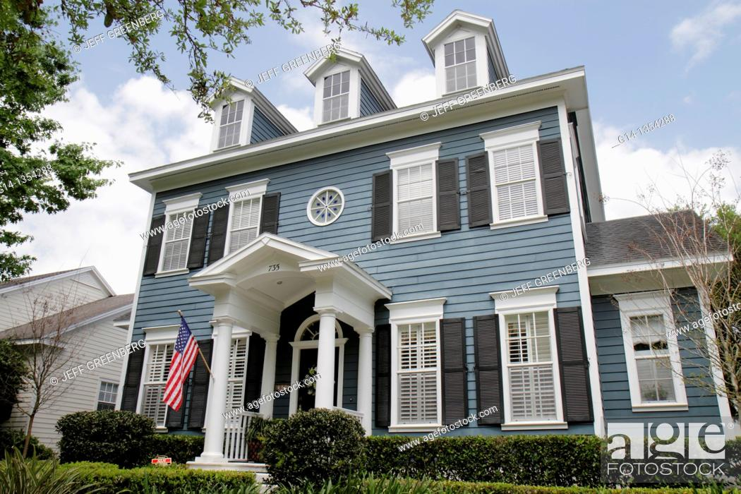 Stock Photo: Florida, Orlando, Kissimmee, Celebration, planned community, Colonial-style house, home,.