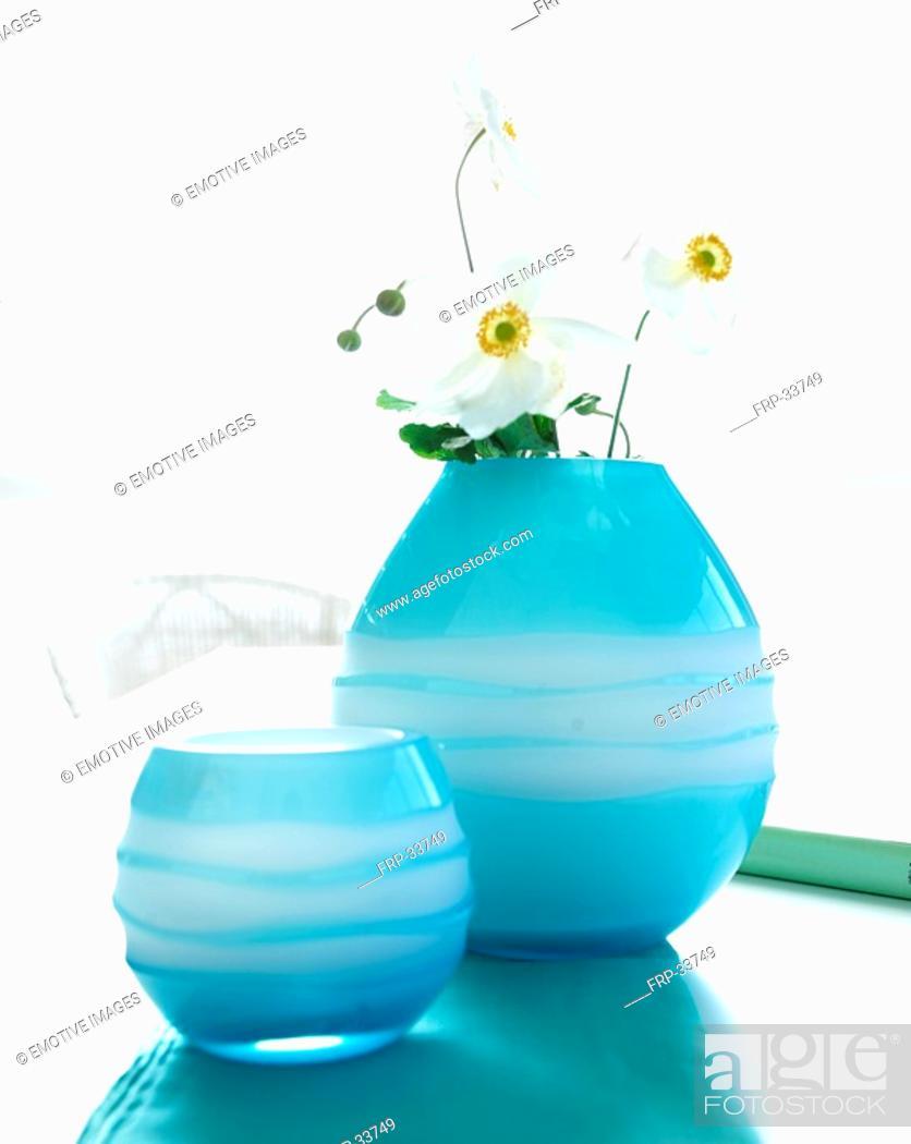 Stock Photo: Japanese anemone in light blue glass vases.