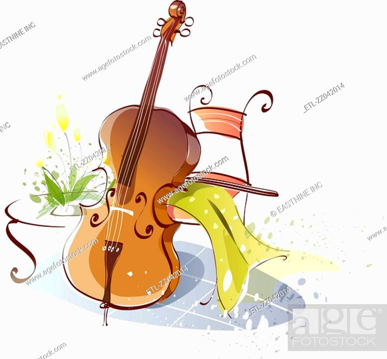 Stock Photo: Cello leaning on a chair.