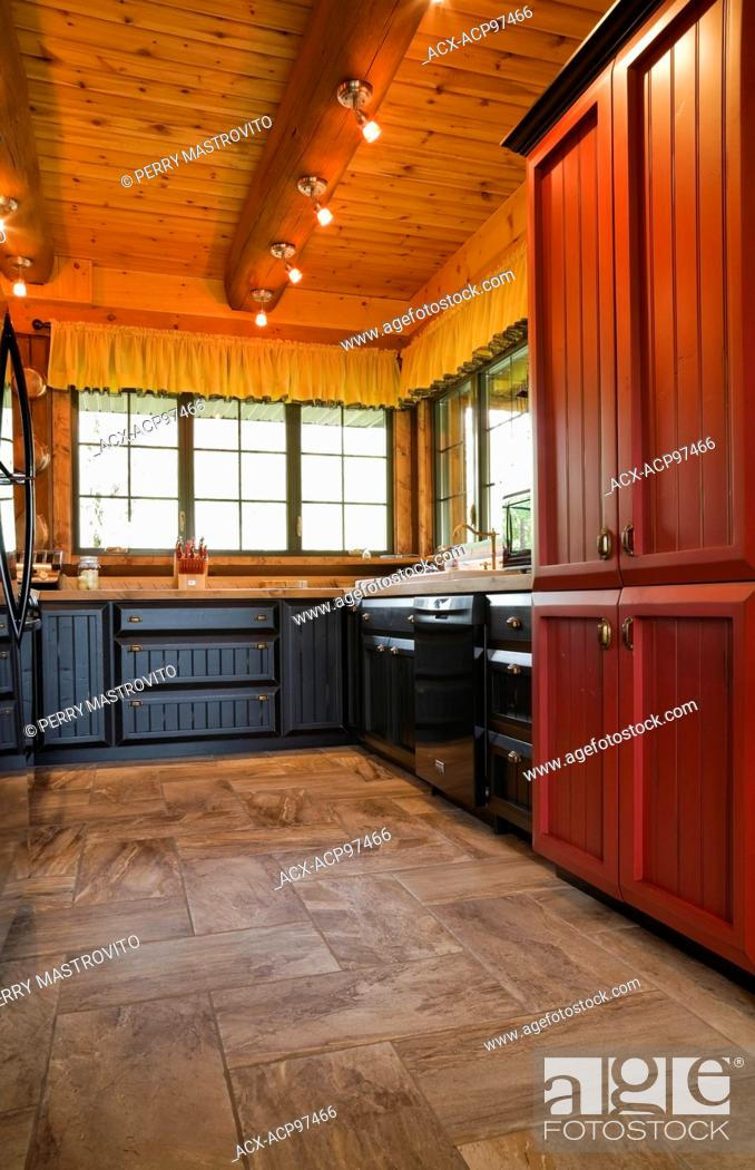 Enjoyable Kitchen With Red And Black Wooden Cabinets Inside A Cottage Home Interior And Landscaping Ologienasavecom