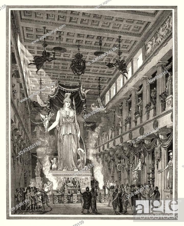 Stock Photo: Artistic recreation of the Parthenon during the Classical period Statue of the Goddess Athena. Athens. Ancient Greece. Old 19th century engraved illustration.
