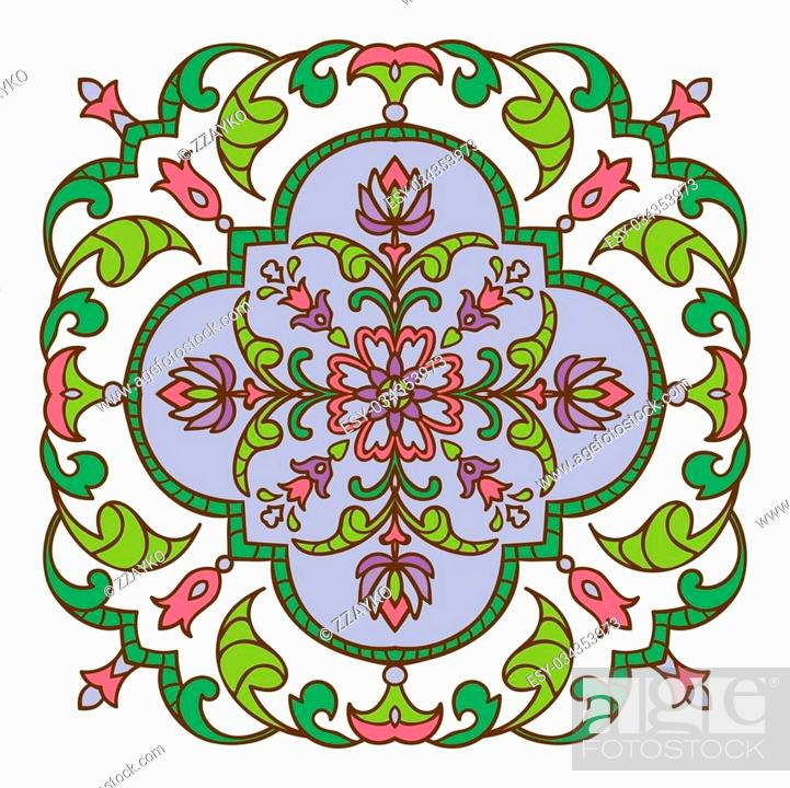 Stock Vector: Hand drawing zentangle color element. Italian majolica style Flower mandala. Vector illustration. The best for your design, textiles, posters.
