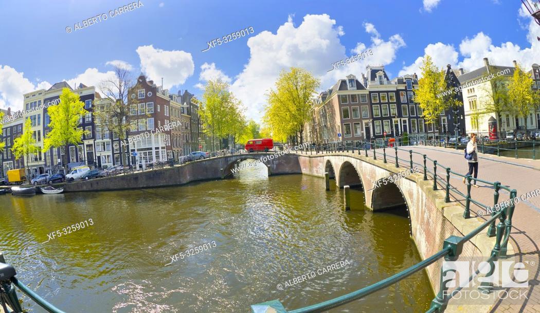 Stock Photo: Urban Canal, Street Scene, Amsterdam, Holland, Netherlands, Europe.