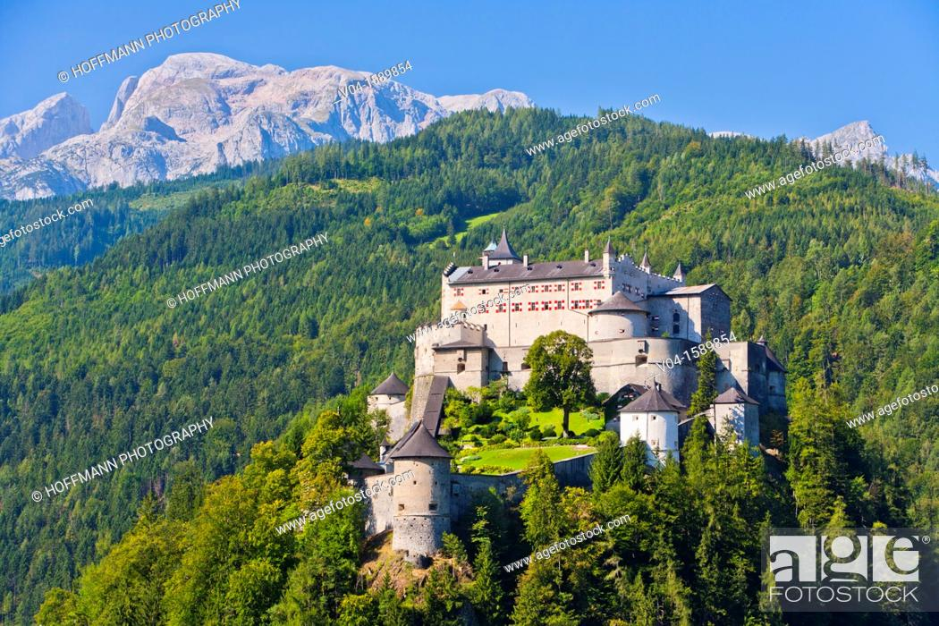 Stock Photo: The impressive Hohenwerfen Castle with the Alpes in the background, Austria, Europe.