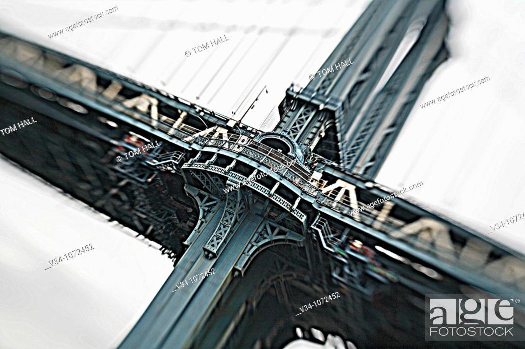 Stock Photo: Manhattan Bridge, New York City.