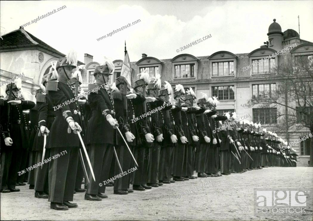 Stock Photo: Apr. 04, 1954 - Saint Cyr Cadets at Ecole Polytechnique Saint Cyr cadets standing to attention during the parade hled at the Ecole Polytechnique (Military.