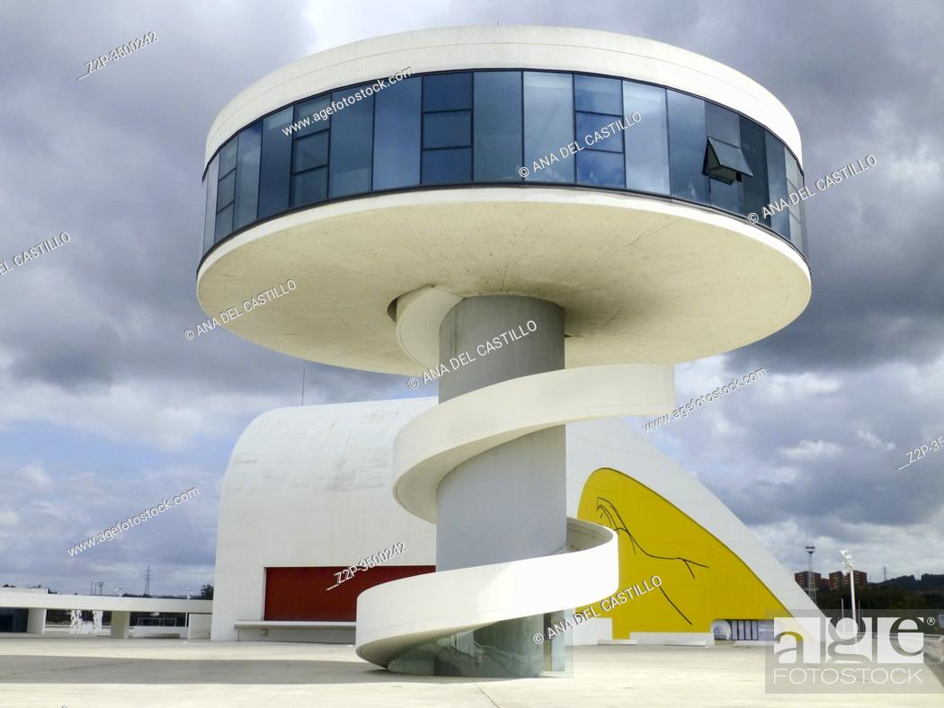 Stock Photo: Aviles, Spain: View of Niemeyer Center in Aviles. The cultural center was designed by Brazilian architect Oscar Niemeyer, was his only work in Spain.