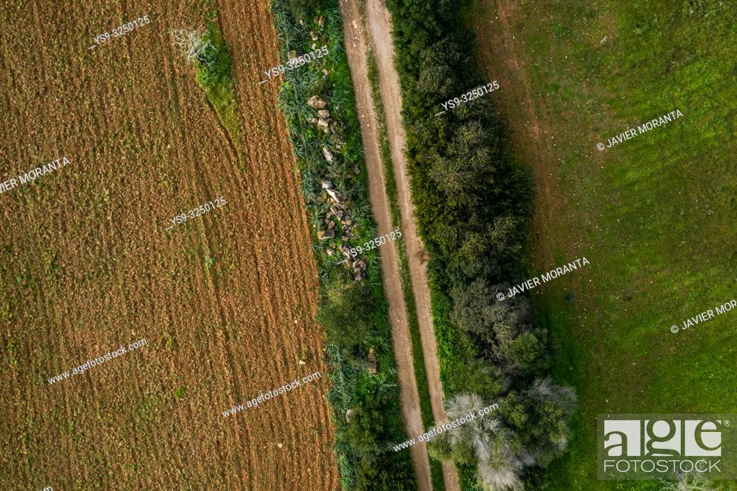 Stock Photo: Aerial photo of a road in the outskirts of Llucmajor.
