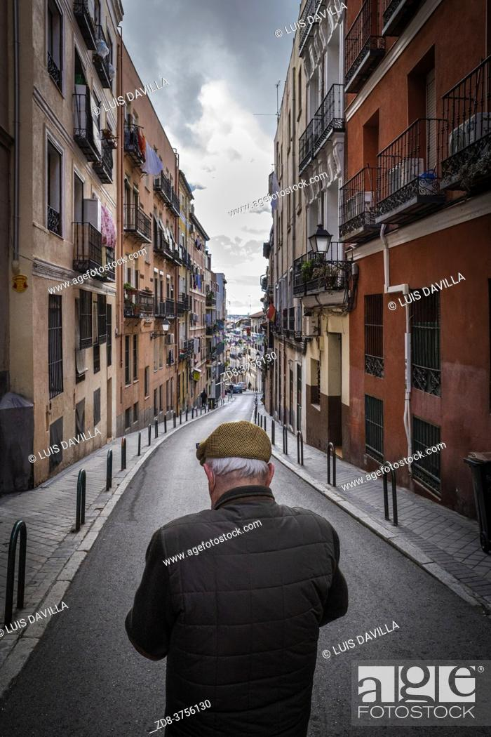 Stock Photo: old man in lavapies district. madrid. spain.
